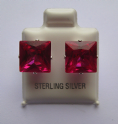 9mm square Princess cut Ruby Cubic Zirconia Sterling silver stud earrings
